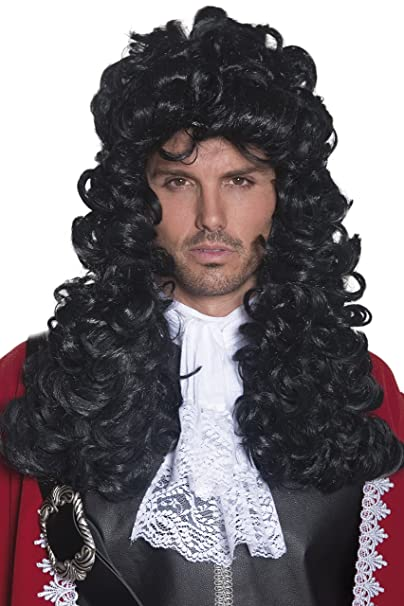 amazon com smiffys men s long and curly black pirate captain wig