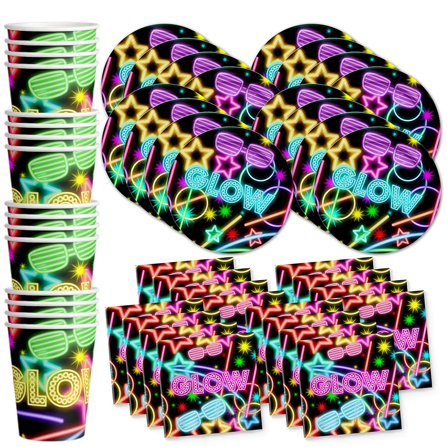 Glow Light Neon Birthday Party Supplies Set Plates Napkins Cups Tableware Kit for 16 Birthday Galore