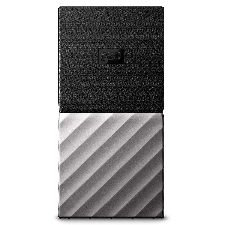 WD My Passport SSD 512 GB, Mobile SSD Festplatte, USB C / 3.1 Gen 2 Ready; Kennwortschutz und Software für automatische Datensicherung, schwarz/silber metallic SanDisk WDBKVX5120PSL-WESN