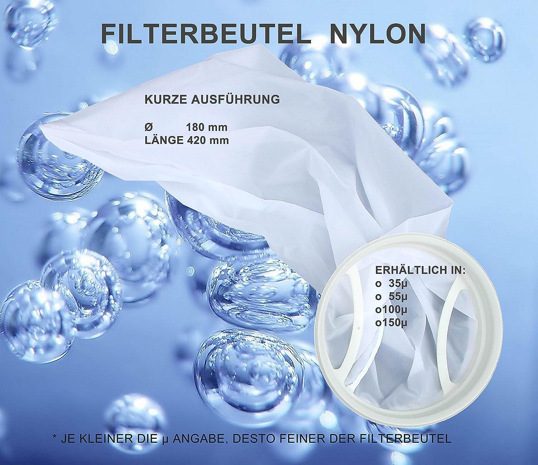 feiner als ein Trommelfilter 42cm lang Filterstrumpf Nylonfilter stabiler als ein Damenstrumpf Filterbeutel 35 Micron kurze Ausf/ührung /Ø 18cm Algen aus dem Teich filtert Schwebepartikel