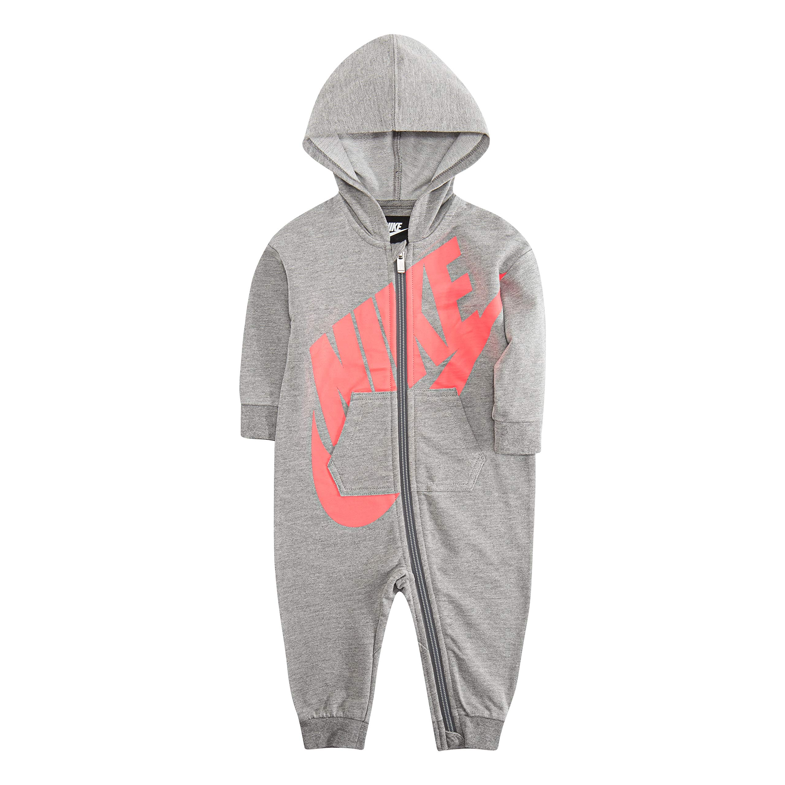 Nike Baby Hooded Coverall, Dark Grey Heather/Pink, 3M by Nike