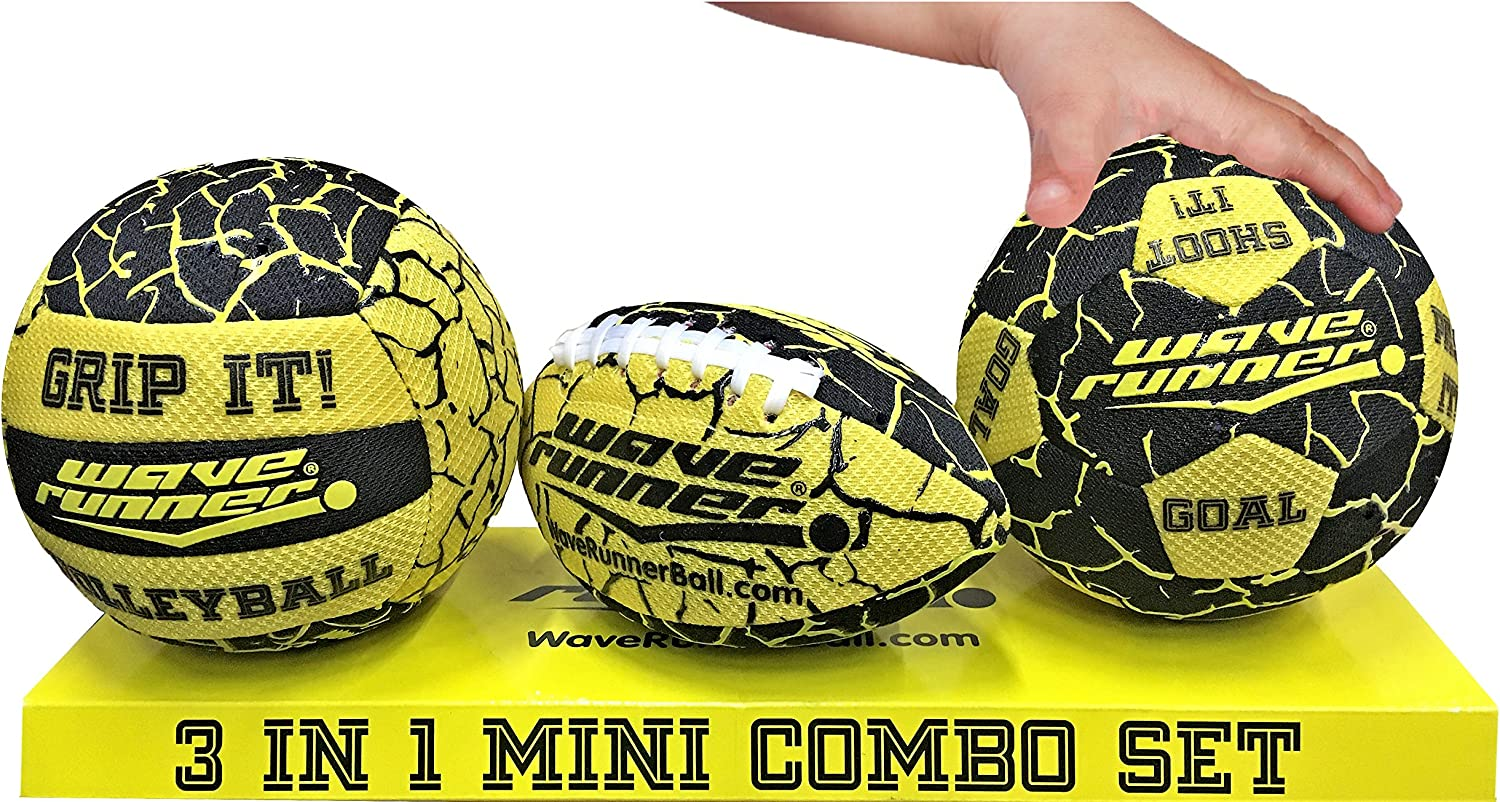 Yellow Wave Runner Grip It 3 in 1 Waterproof Mini Football Mini Volleyball and Mini Soccer These Balls Bounce and Skip On Water