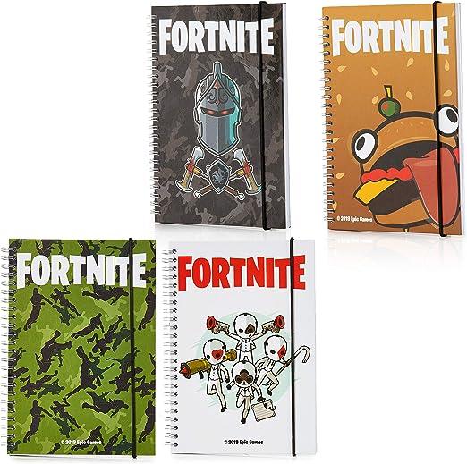Fortnite Set de 4 Cuadernos, Set Papelería para Niños con 4 Libretas, Material Escolar Edición Limitada con Cuaderno A5 De Tapa Dura, Set de 4 Bloc De Notas, Regalos Originales Niño: Amazon.es: