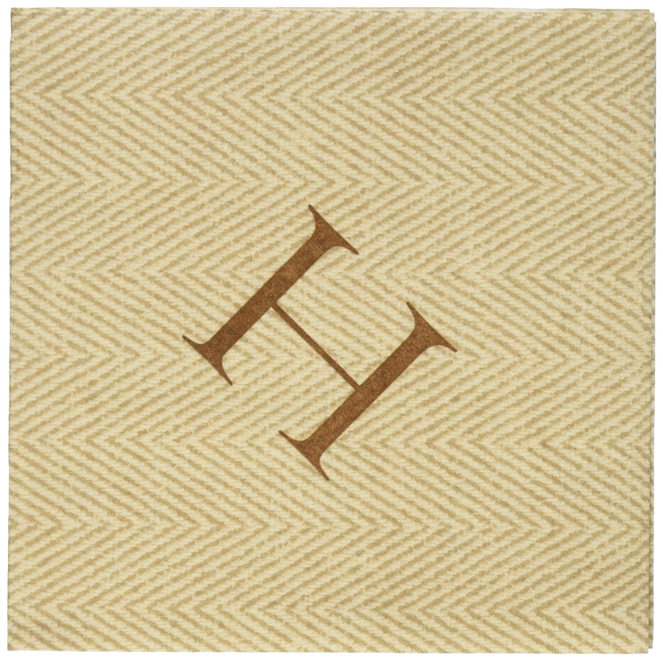 Entertaining with Caspari Jute Herringbone Paper Linen Cocktail Napkins, Monogram Initial H, Pack of 30
