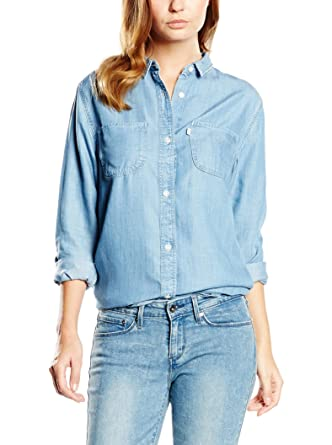 Para mujer Levi's Boyfriend Fit Denim Camisa con botones | eBay