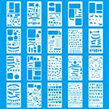 MORSLER 20 Piece Journal Stencil Plastic Planner Stencils DIY Drawing Template, 4x7 inches