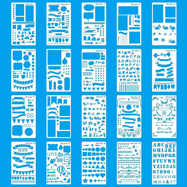 Stencil in plastica, confezione da 20 pezzi, 10,2 x 17,8 cm, per diari, giornali, lavori di scrapbooking e fai da te CASE E-Craft