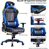 KILLABEE Big and Tall 400lb Memory Foam Gaming Chair - Adjustable Tilt, Back Angle and 3D Arms Ergonomic High-Back Leather Racing Executive Computer Desk Office Chair, Blue