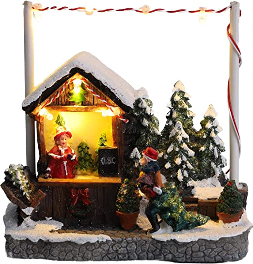 Clever Creations Traditional Wooden Table Top Christmas Decorations Christmas Village with Battery Operated LED Christmas Lights and Rotating Christmas Tree Festive Christmas Snowman and Santa