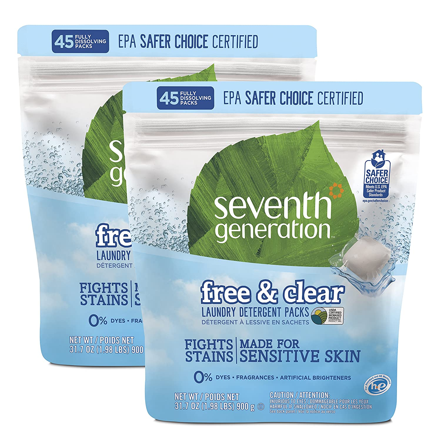 Seventh Generation Laundry Detergent Packs, Free and Clear, 90 Count
