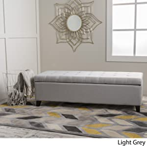 Christopher Knight Home 299391 Living Santa Rosa Light Grey Fabric Storage Ottoman