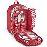 VonShef 2 Person Geo Red Picnic Backpack Bag With Blanket – Includes 17 Piece Dining Set & Cooler Compartment to Keep Food Chilled