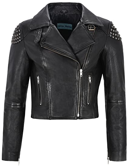 Ladies Biker Leather Jacket Black Skull Studded Rock ...