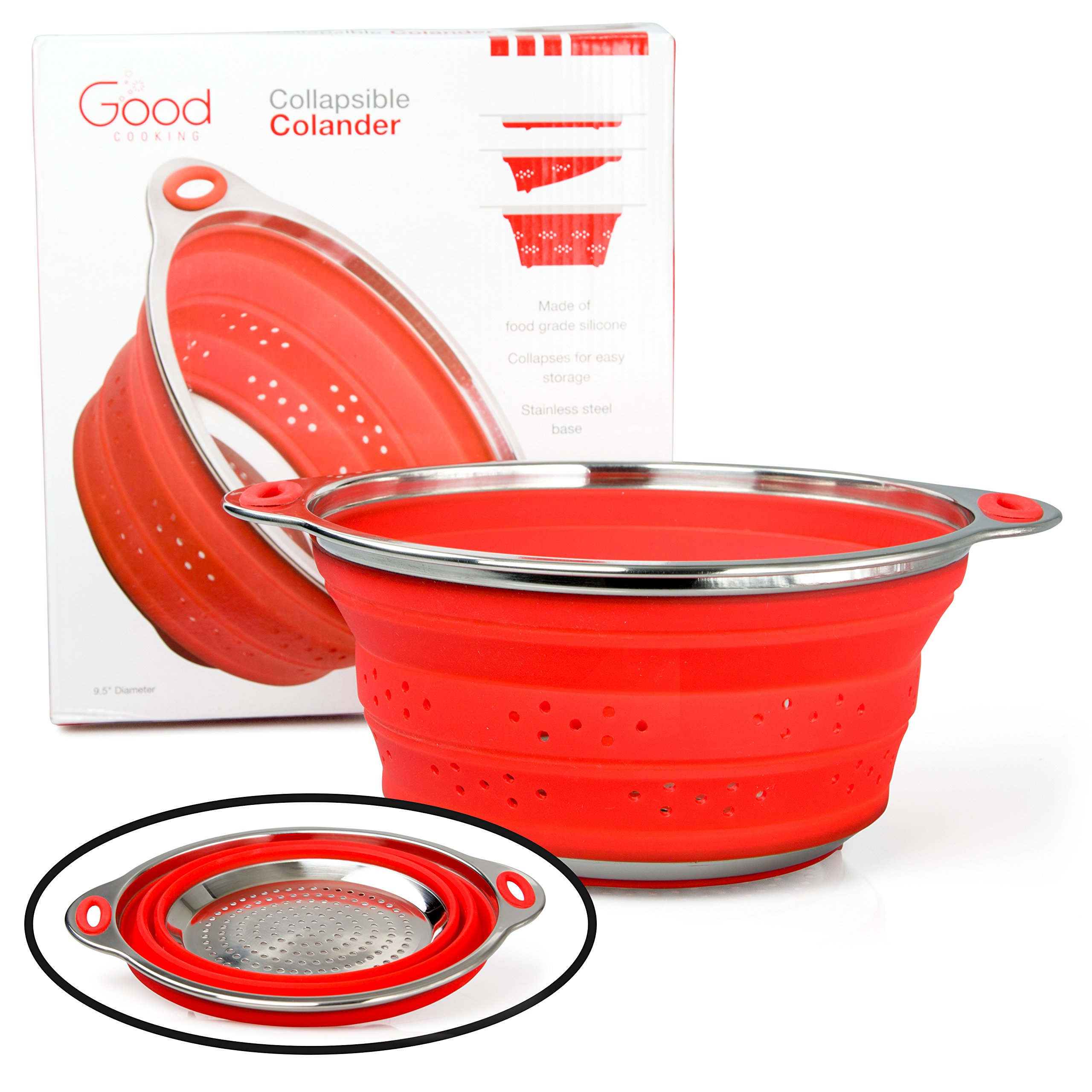 Collapsible Colander with Stainless Steel Base (Extra Large 9.5'' Diamater)- 100% Food Grade Silicone and BPA Free by Good Cooking