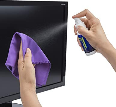 Screen Mom Screen Cleaner Kit for Laptop, Phone Cleaner, iPad, Eyeglass, LED, LCD, TV - Includes 2oz Spray and 2 Purple Cleaning Cloths