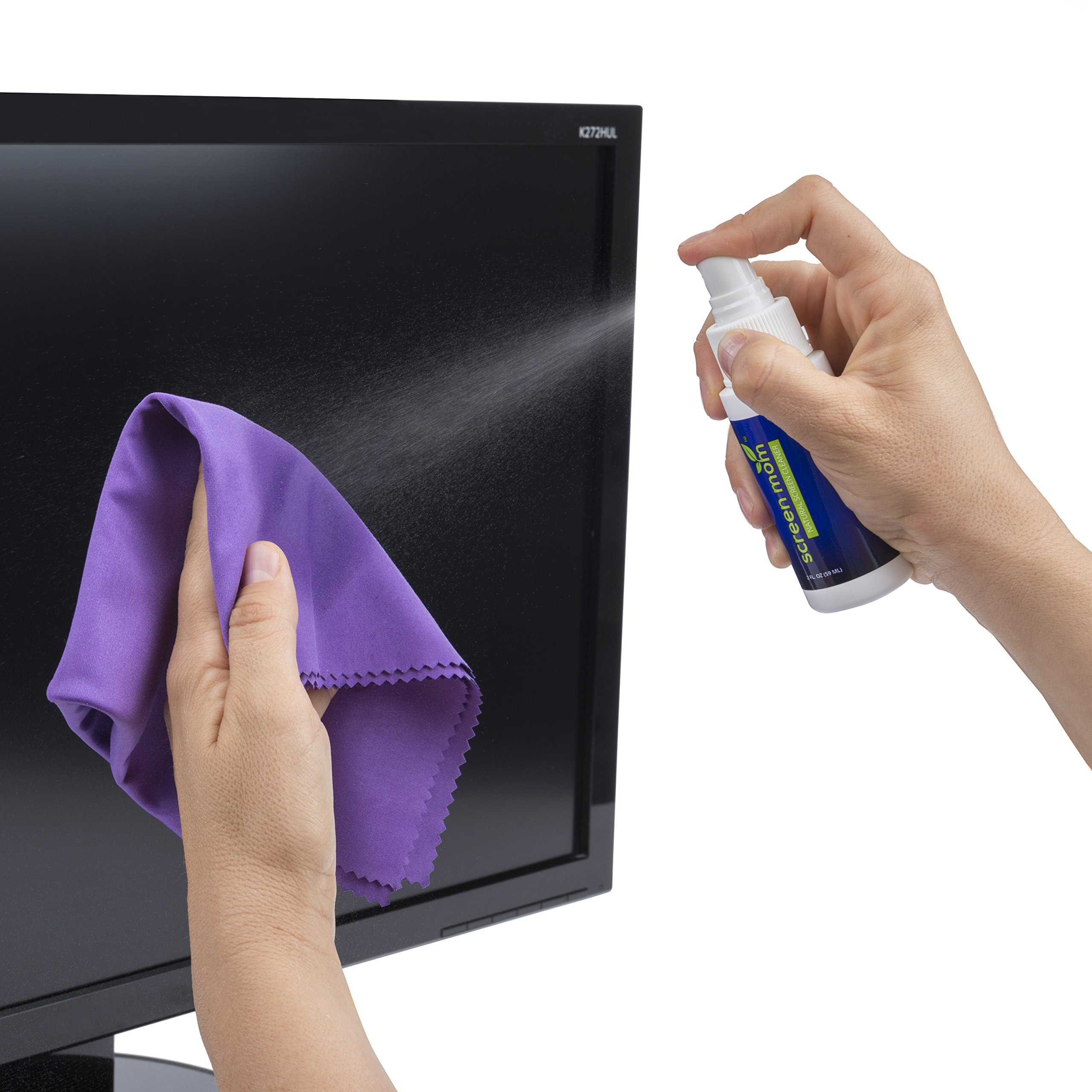 Screen Mom Screen Cleaner Kit - Best for Laptop, Phone Cleaner, iPad, Eyeglass, LED, LCD, TV -Includes 2oz Spray and 2 Purple Cleaning Cloths -Great for Travel,Smartphone,Touchscreen,Kindle,3D Glasses by Screen Mom (Image #3)