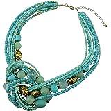 Bocar Aquamarine Seed Beads Antique Gold Multilayer Statement Collar Necklace