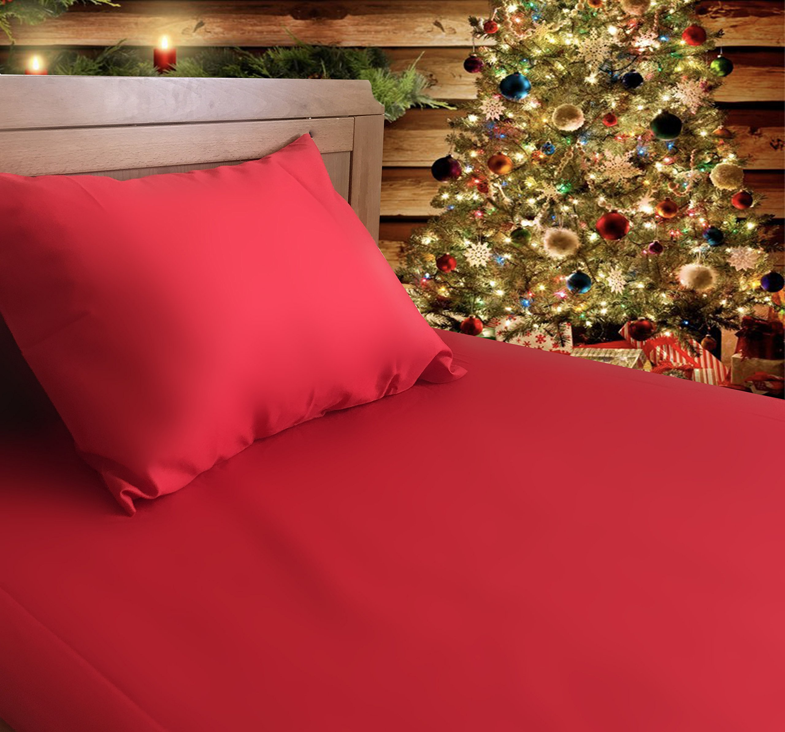 Crib / Toddler Bed Sheet and Pillowcase Set (RED) 100% Premium Cotton by Dreamtown Kids