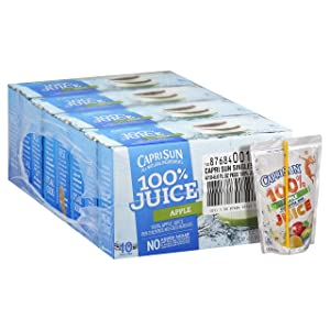 Capri Sun Apple 100% Juice Drink (6 oz Pouches, 4 Boxes of 10)