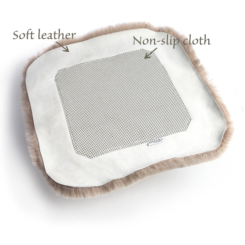Black Australian Sheepskin Seat Pad Minidoka Sheepskin Thick Short Wool for Maximum Comfort 20 x 20 Non-Slip Backing Natural Leather for Premium Fit