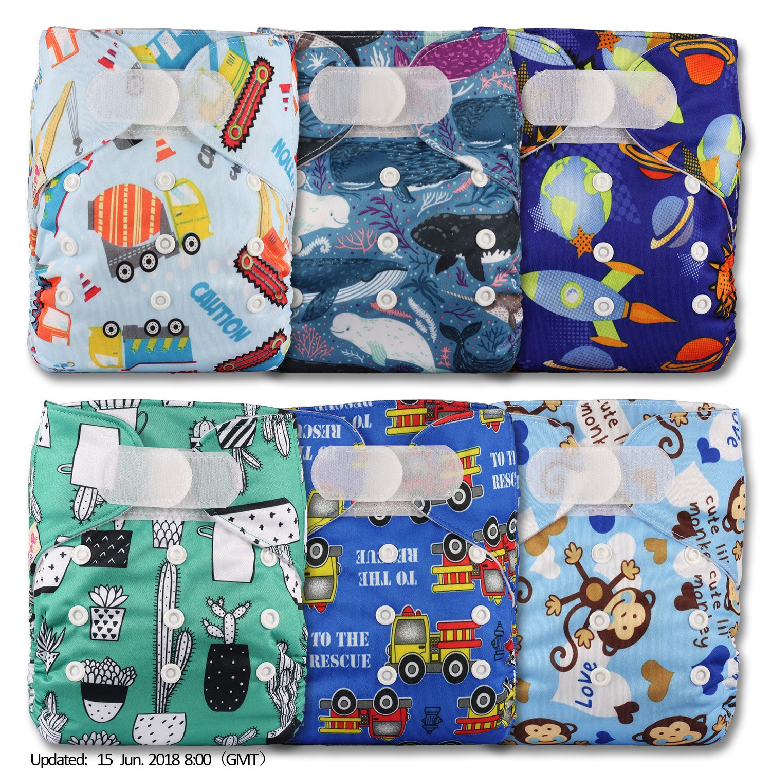 with 12 Microfibre Inserts Set of 6 Littles /& Bloomz Reusable Pocket Cloth Nappy Fastener: Hook-Loop Patterns 608