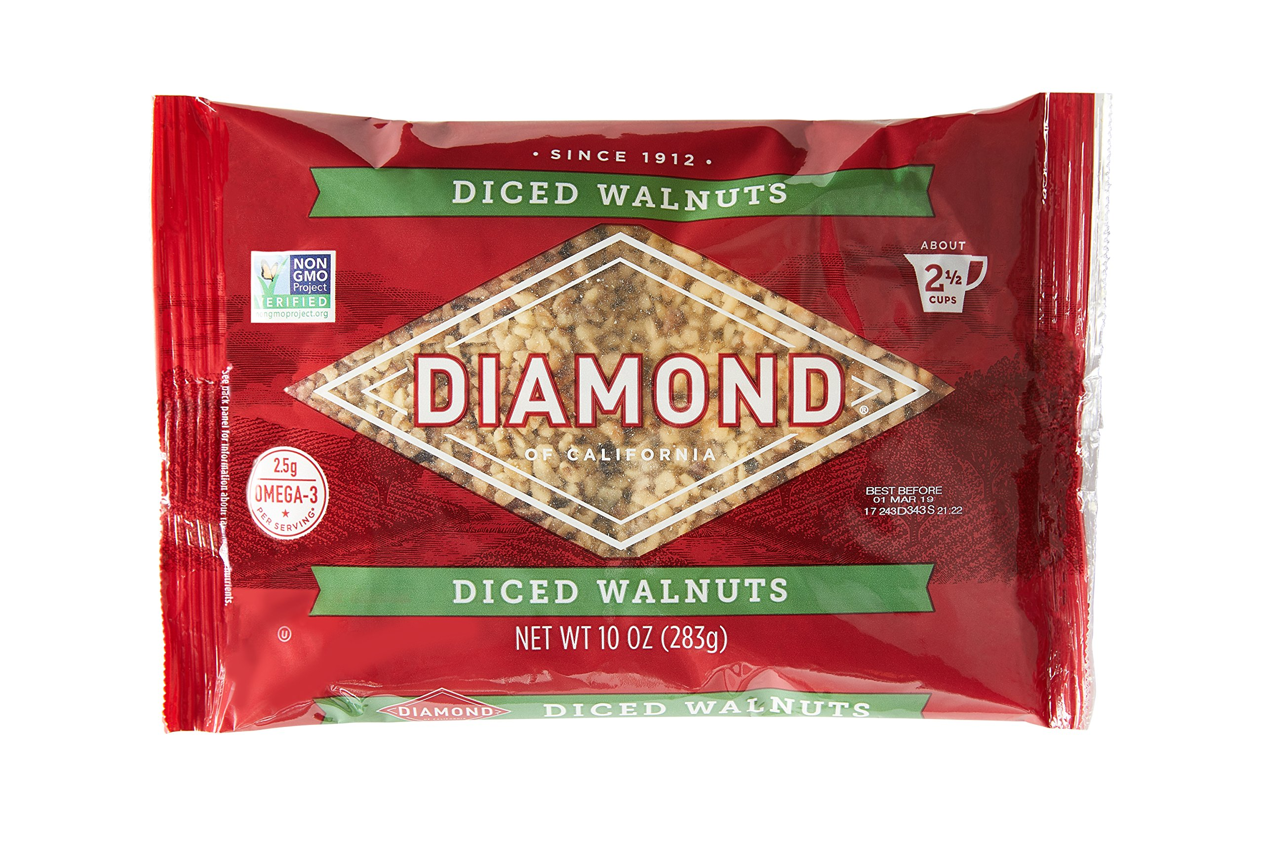 Diamond of California, Finely Diced Walnuts, Non GMO, No Added Salt, 10 oz. (Pack of 6)