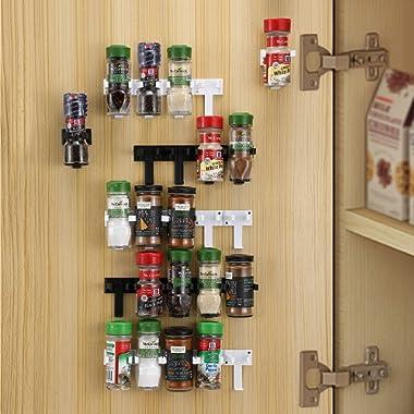 CAXXA 50 Spice Gripper Strip Clips Extra Support Spice Rack Dispenser Cabinet Kitchen Holder Storage   10 Strips Holds 50 Spice Jars, 5 Black and 5 White Strips