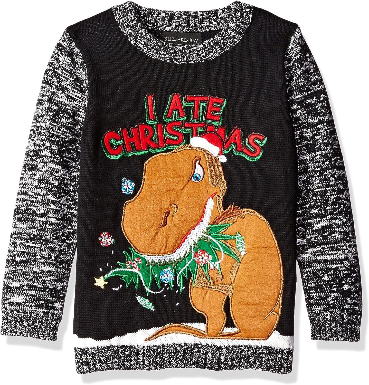 Blizzard Bay Boys Dinosaur Fairisle Ugly Christmas Crew