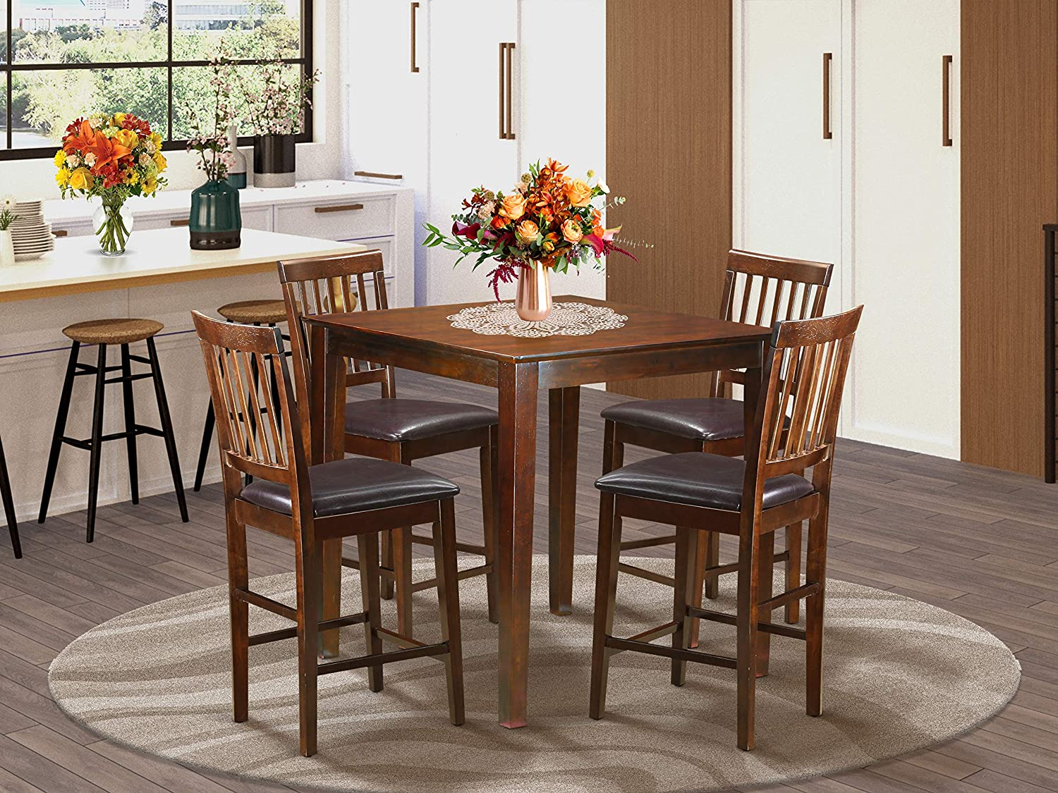 Amazon Com 5 Pc Counter Height Table Square Gathering Table And 4 Stools Table Chair Sets