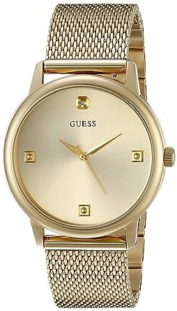 e1582b72ddff Amazon.com  GUESS Gold-Tone Slim Mesh Watch  Watches