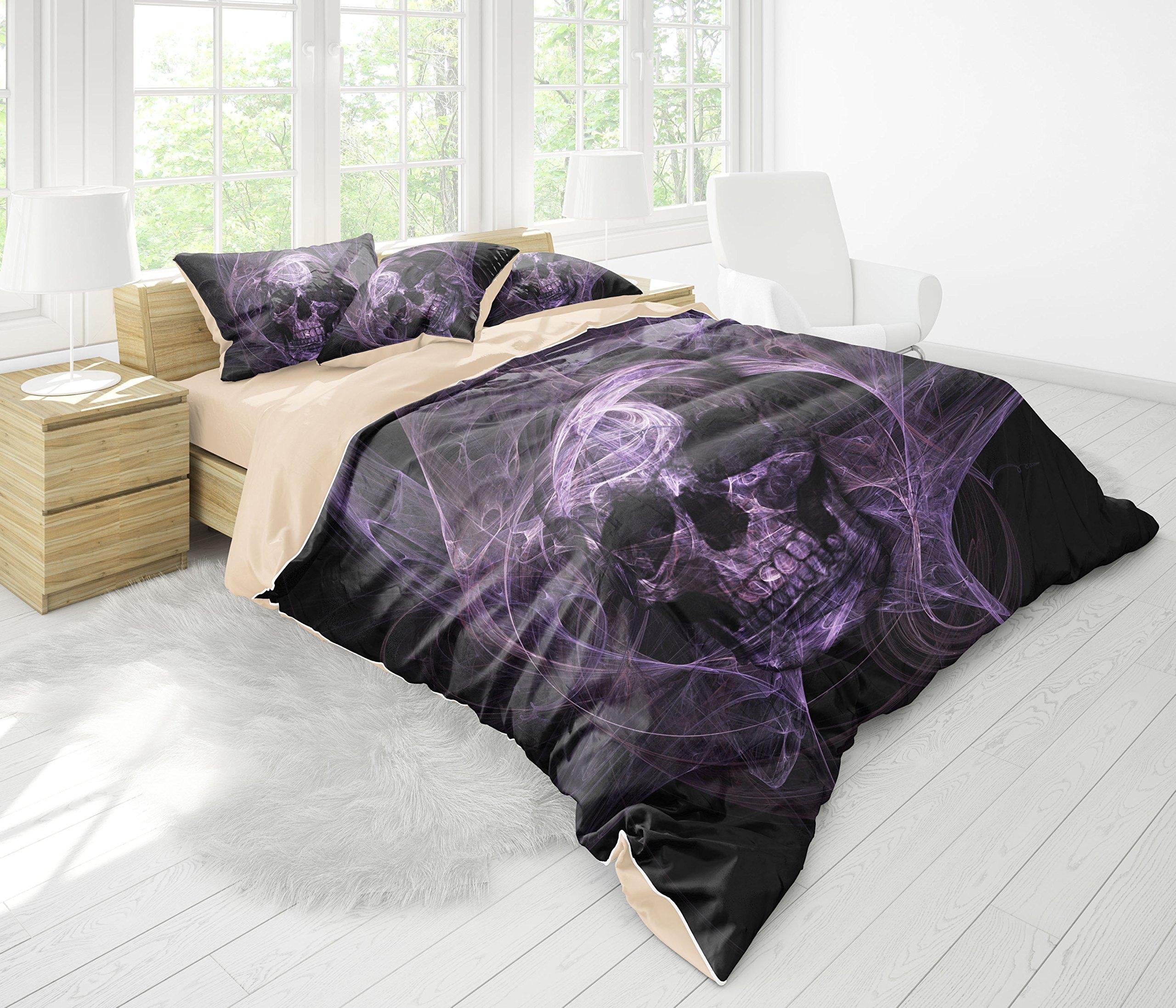 FAITOVE Black Skull Microfiber 3pc 90''x90'' Bedding Quilt Duvet Cover Sets 2 Pillow Cases Queen Size