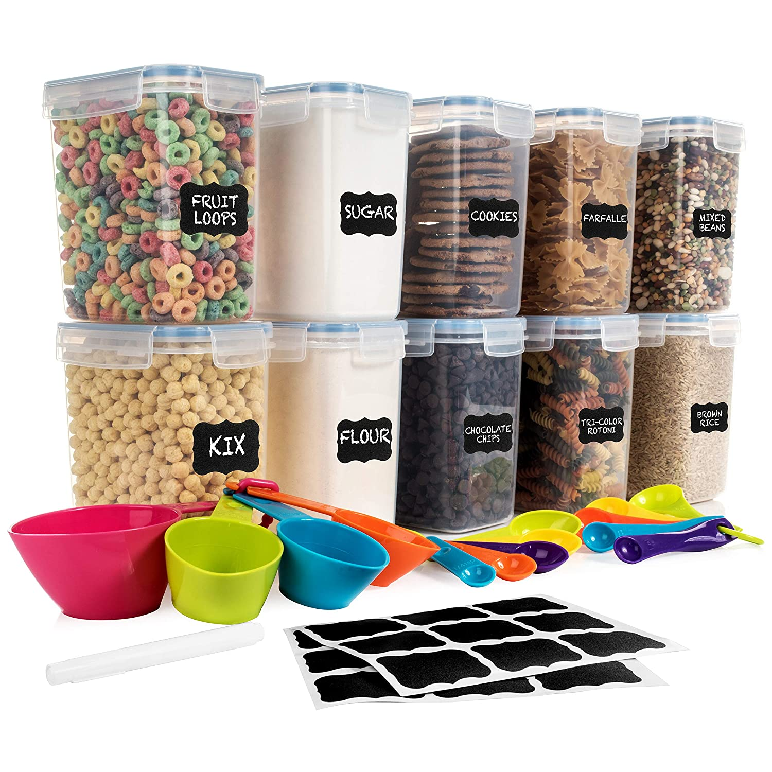 SPACE SAVER Food Storage Airtight Pantry Containers [Set of 10] 1.6L /54oz + 14 Measuring Cup/Spoons + 18 FREE labels & Marker - Ideal for Sugar, Flour, Baking Supplies - Clear Plastic - Leakproof