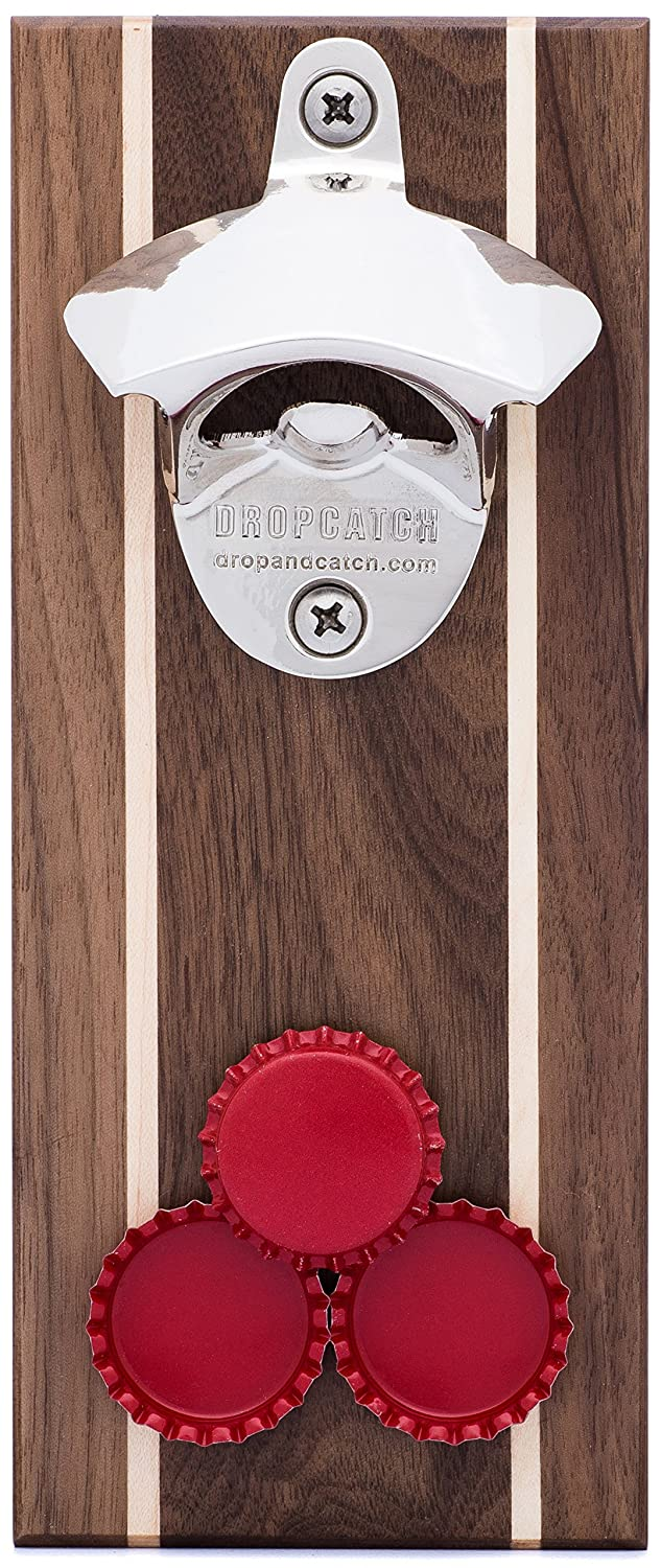 DropCatch Magnetic Wall Mounted Bottle Opener & Cap Catcher - 40 Caps (Pilsner)