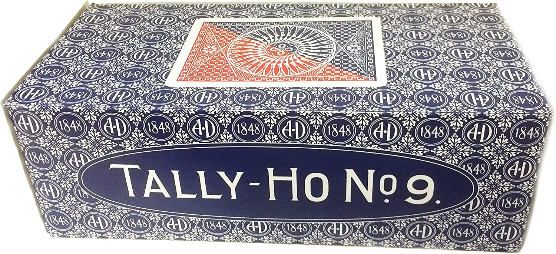 Caja de 12 barajas TALLY-HO Circle (6 Azules / 6 Rojas): Amazon.es ...