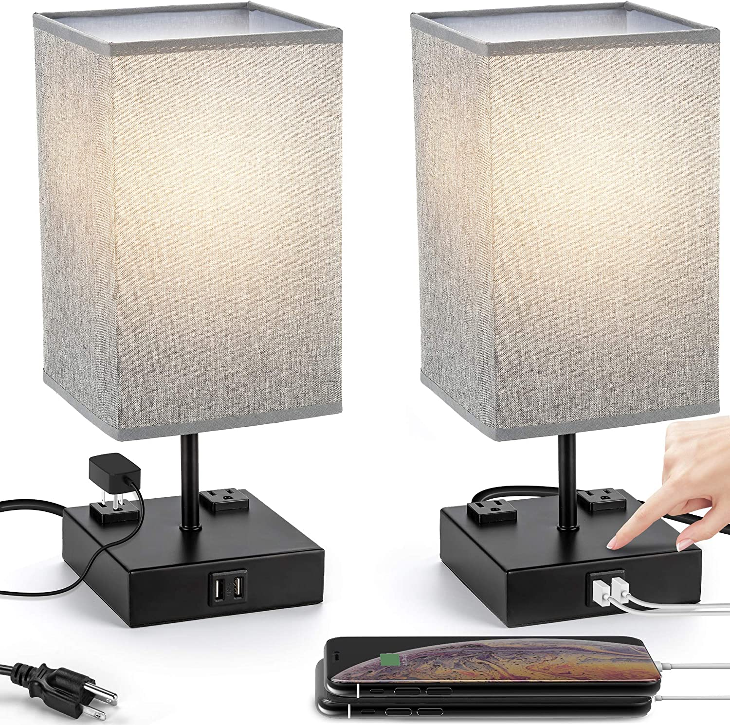 UL Approval Touch Control Table Lamp with USB and AC Outlet, SUPERDANNY 3-Way Dimmable Bedside Nightstand Lamp Modern Light, Desk Reading Lamp for Bedroom, Living Room, Gray, Set of 2…: Home Improvement