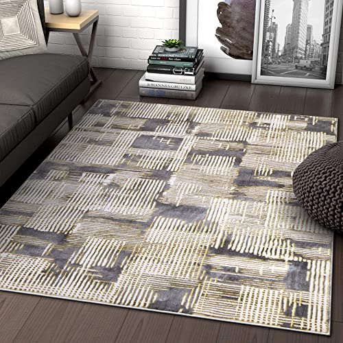 Grey Yellow Gold Modern Geometric High-Low Pile Area Rug 3×5 3 11 x 5 3 Abstract Washed Out Industrial Carpet