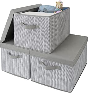 GRANNY SAYS Extra Large Fabric Storage Bins with Lids, Stackable Closet Storage Bins, Decorative Storage Box for Bedroom, Gray/White, 3-Pack