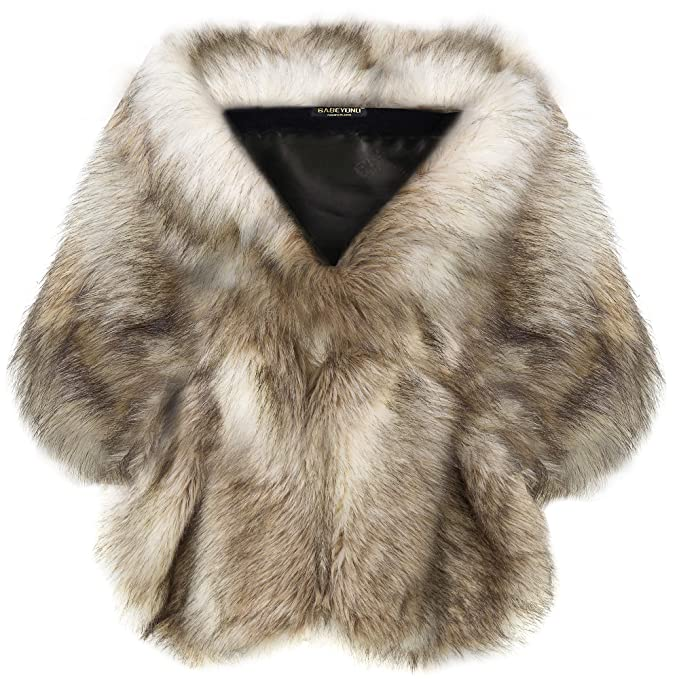 Victorian Capelet, Cape, Cloak, Shawl, Muff BABEYOND Womens Faux Fur Collar Shawl Faux Fur Scarf Wrap Evening Cape for Winter Coat $38.99 AT vintagedancer.com