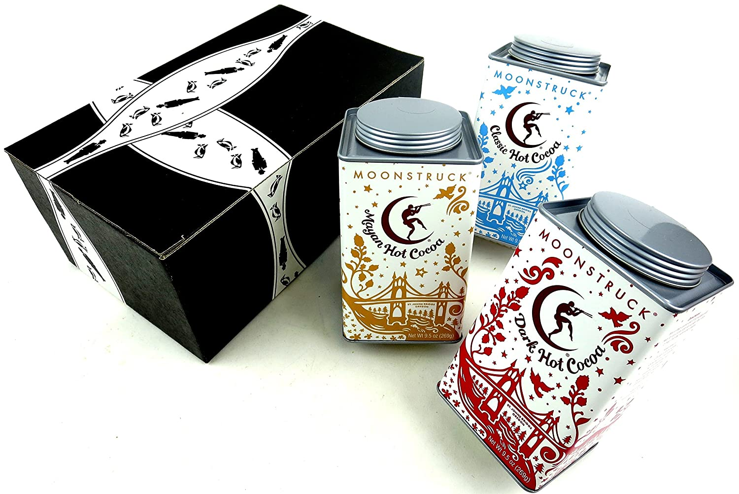 Moonstruck Cocoa 3-Flavor Variety: One 9.5 oz Canister Each of Classic, Dark, and Mayan in a BlackTie Box (3 Items Total)