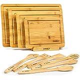 Smirly Bamboo Cutting Board Set: Wood Cutting Boards for Kitchen, Wood Cutting Board Set, Chopping Board Set, Wooden Cutting