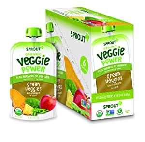 Sprout Organic Baby Food, Stage 4 Toddler Pouches, Green Veggie Power Pack, 4 Oz Purees (Pack of 12)