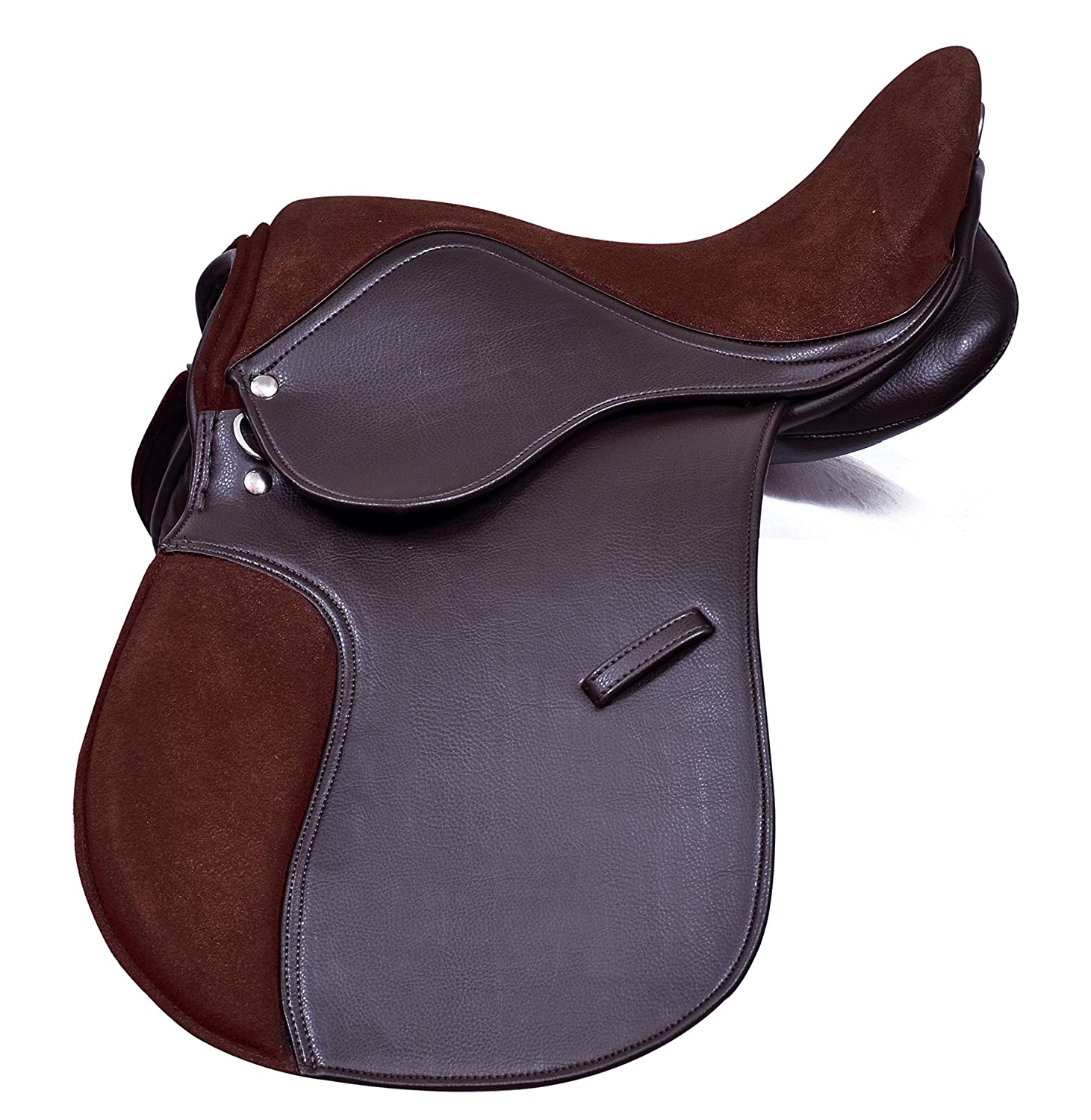 Pets2Care Synthetic General Purpose Saddle With Suede Seat Premium Quaility Wide Fit, black and brown 14, 15, 16, 17 & 18
