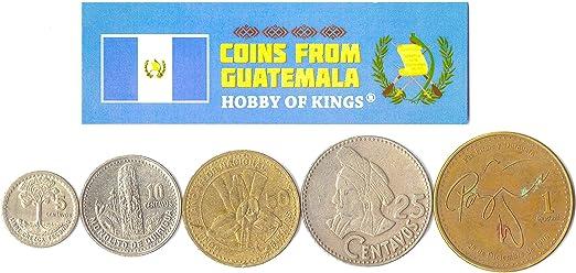 5 Monedas Diferentes - Moneda extranjera guatemalteca Antigua y Coleccionable para coleccionar Libros - Conjuntos únicos de Dinero Mundial - Regalos para coleccionistas: Amazon.es: Juguetes y juegos
