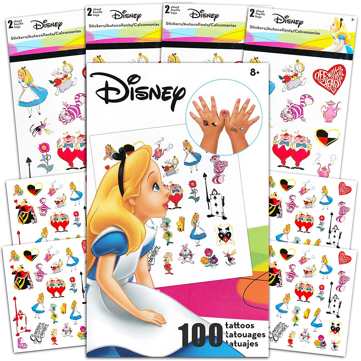 Alice in Wonderland Party Supplies Disney Alice in Wonderland Sticker and Tattoos Party Favors Super Set ~ Bundle Includes Over 200 Wonderland Temporary Tattoos and Stickers