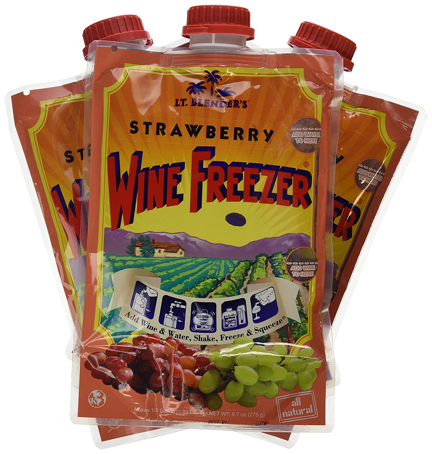 Lt. Blender's Wine Freezer, Strawberry, 9.7-Ounce Pouches (Pack of 3)