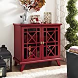 "WE Furniture 32"" Fretwork Accent Console - Red"
