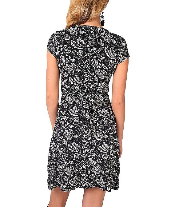 f94a021d8a1d KRISP® Damen Kleid Mini Vorn Geknotet Blattmuster  Amazon.de  Bekleidung