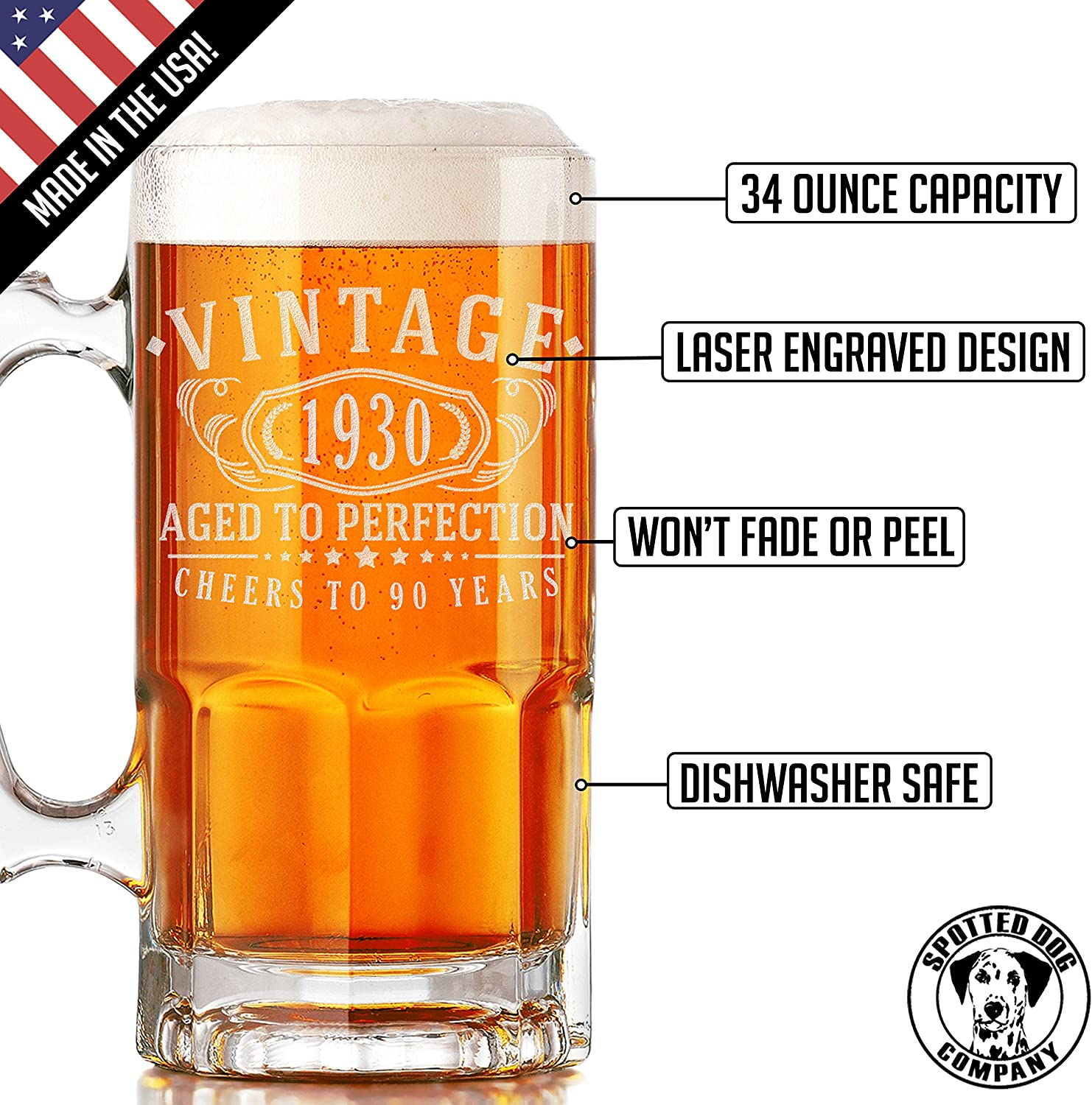 90 years old gifts Vintage 1930 Etched 34oz Glass Beer Mug 90th Birthday Aged to Perfection