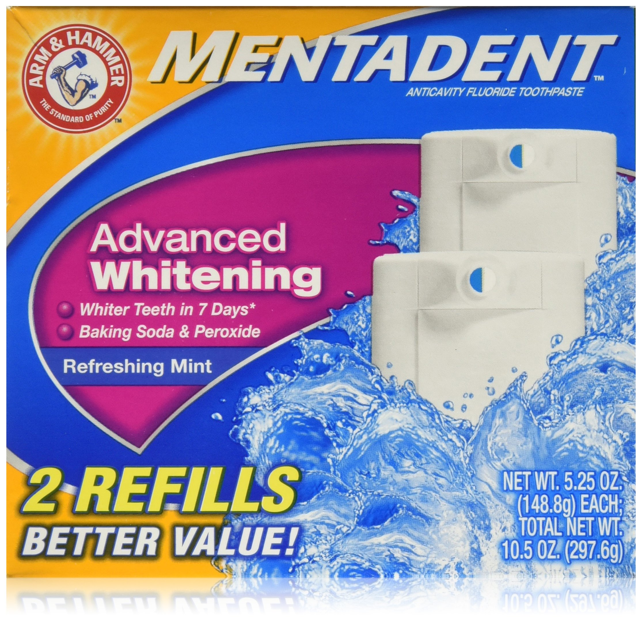 Arm & Hammer Mentadent Advanced Whitening Toothpaste, Twin Refills, 10.5 Ounce (2 pack) by Arm & Hammer (Image #1)