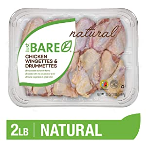 Just BARE Natural Fresh Chicken Wingettes & Drummettes | Family Pack | Antibiotic Free | Bone-In | 2.0 LB